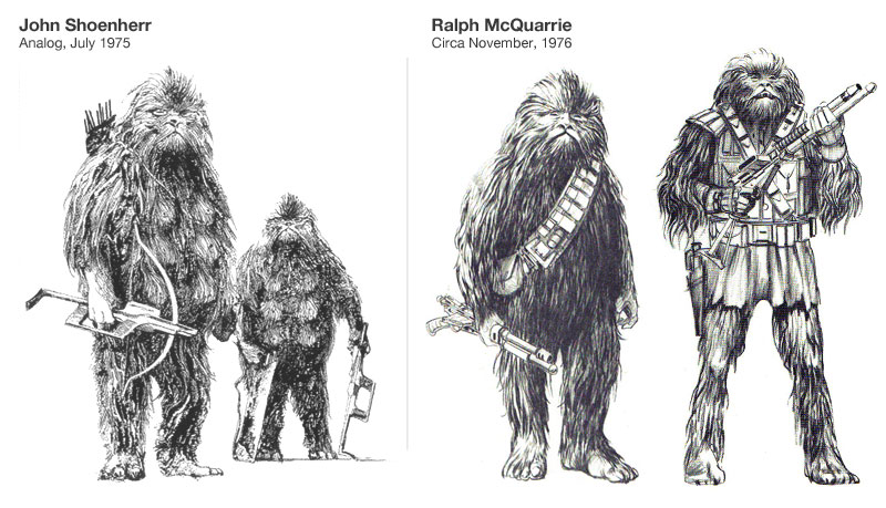 John Schoenherr's creature compared with Ralph McQuarries redesign of Chewbacca Source: The Art of Star Wars, page 67.