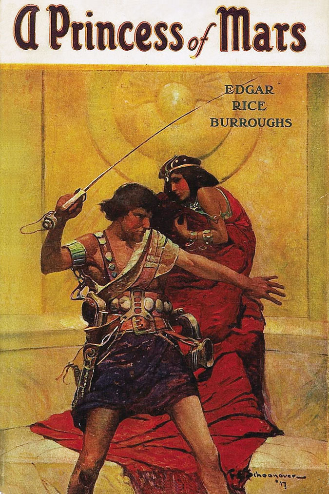 Although originally released as 'Under the Moons of Mars', the story was re-released as a novel, seen here with its original 1917 book cover by Frank E. Schoonover.