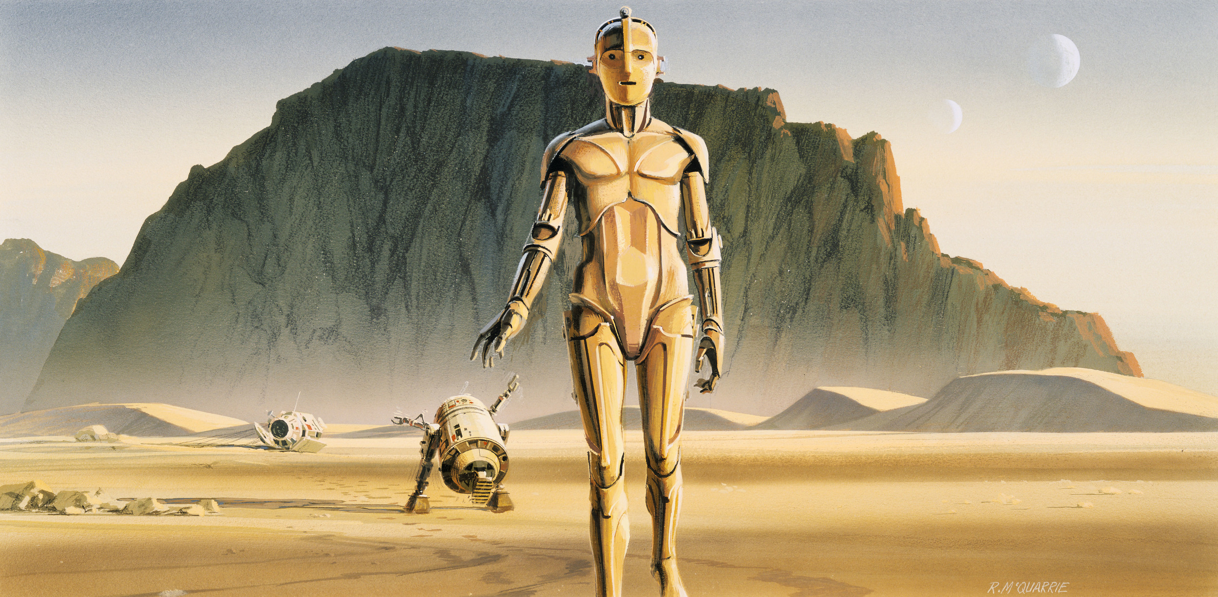 """Artoo and Threepio leave the pod in the desert."" was the first production painting finished for  Star Wars  by Ralph McQuarrie."