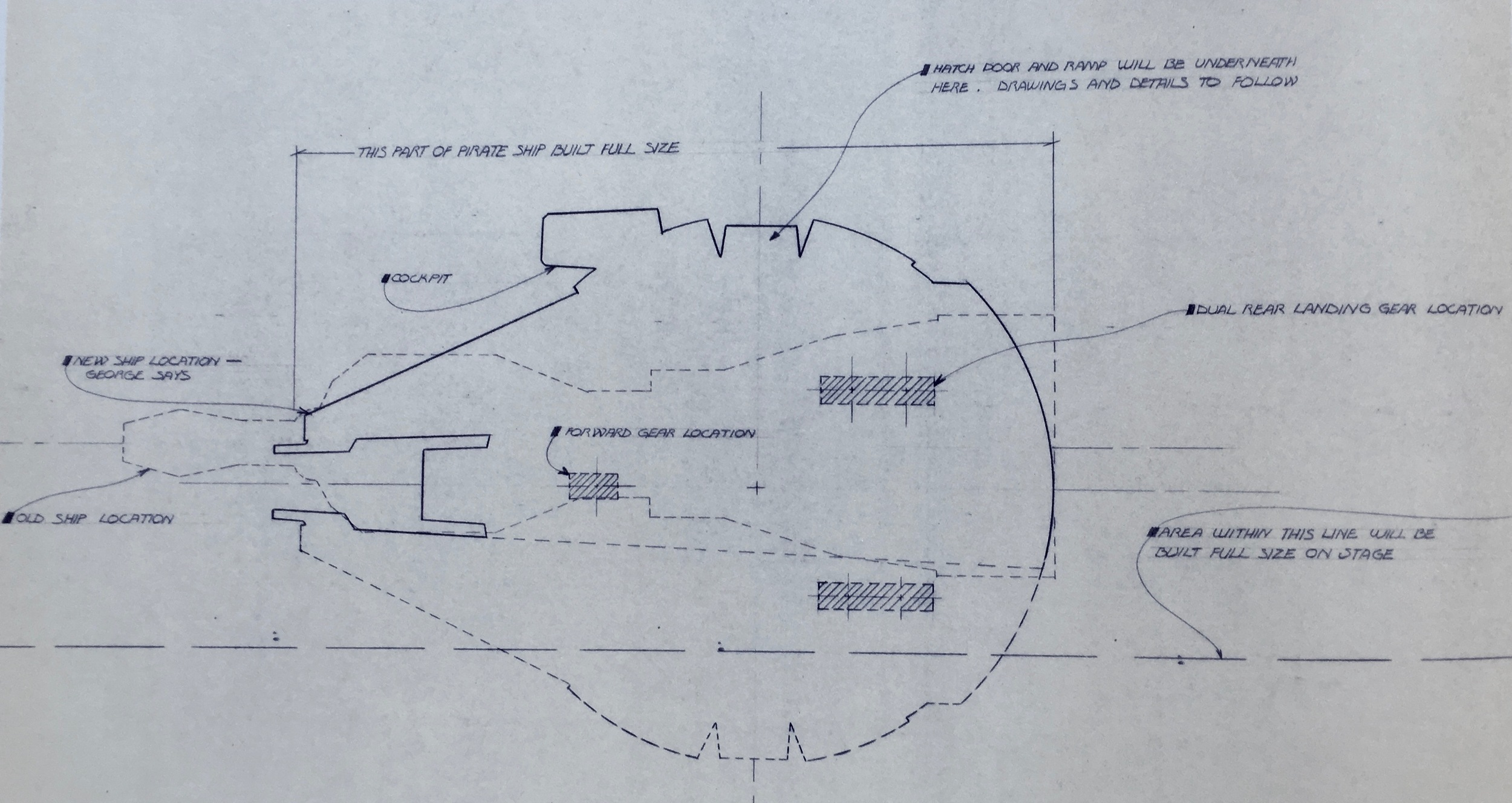 You can almost make out in this blueprint, how the design evolved. The saucer retains the new angular cockpit, which was probably replaced right after these drawnings were made up, because construction in England on the old one had already commenced!