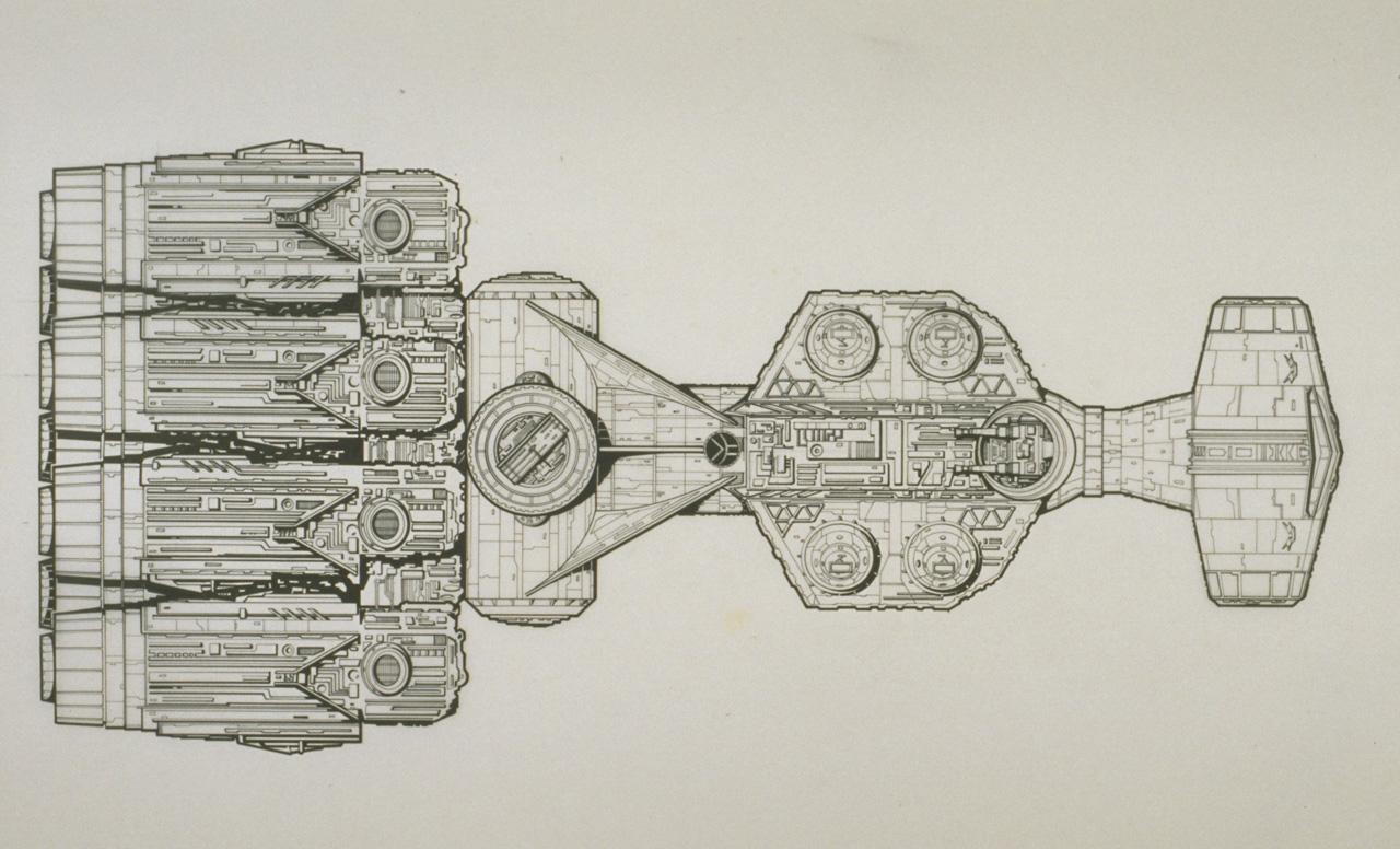 A technical illustration of the Blockade Runner by Joe Johnston.