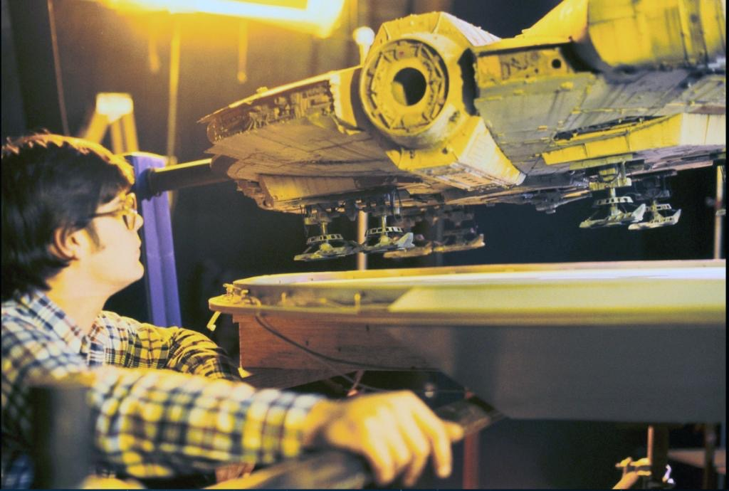 Selwyn Eddy overseeing the landing sequence in Empire Strikes Back, with the new landing gear in place.