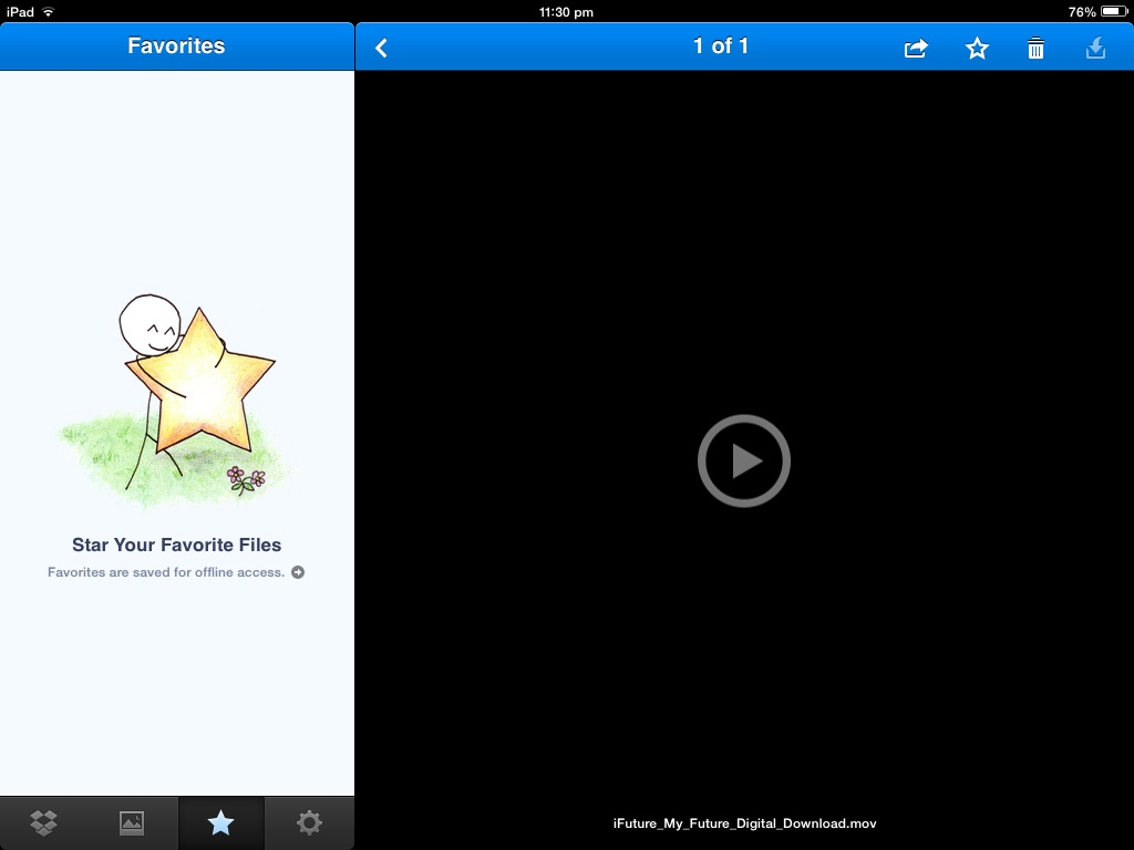 4) Saving it to your iPad - if you want to save it to the iPad/iPhone just lick the STAR at teh top right to favourite it, then the star at the bottom left to view your favourited videos. Viola!