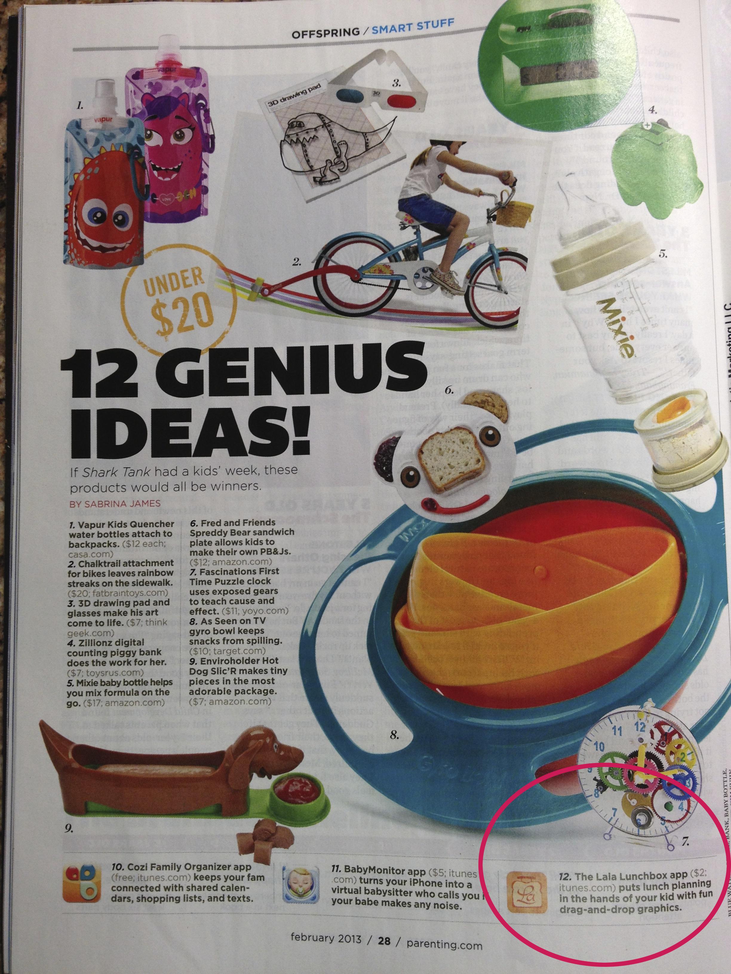 Parenting Magazine,  12 Genius Ideas , February 2013