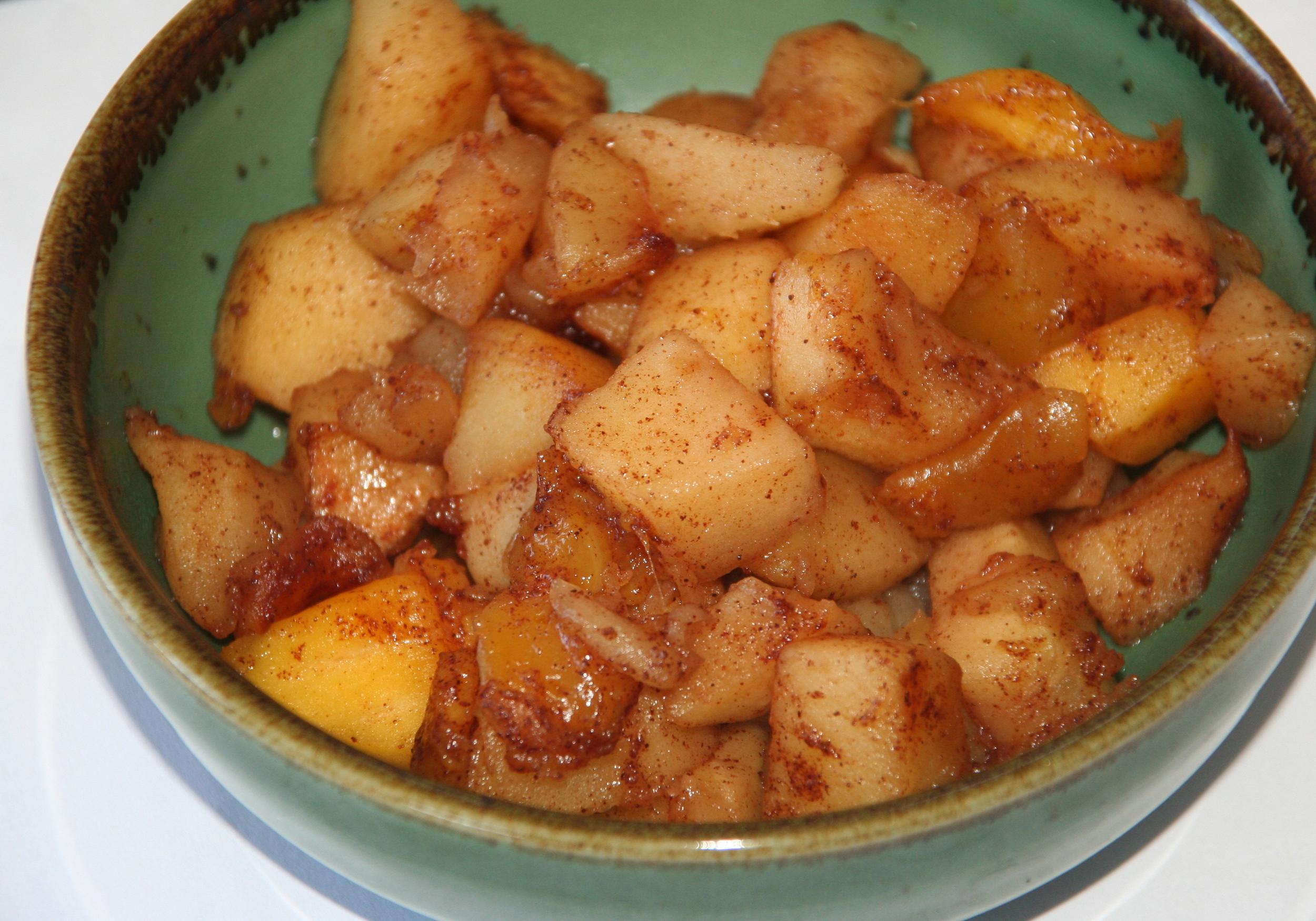 Homemade chunky apple-mango sauce