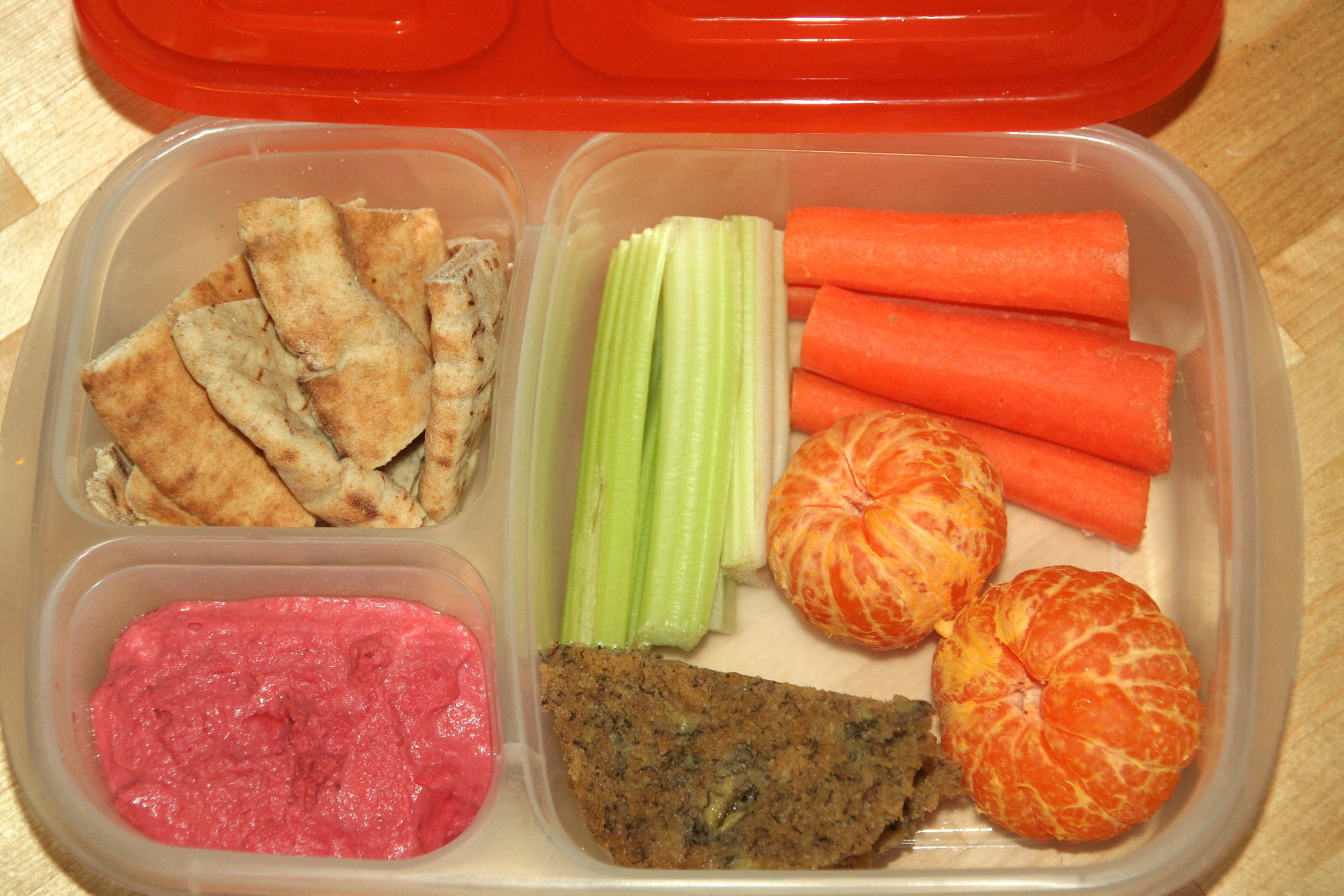 Lunch packed with Pinkalicious Hummus in our EasyLunchboxes container