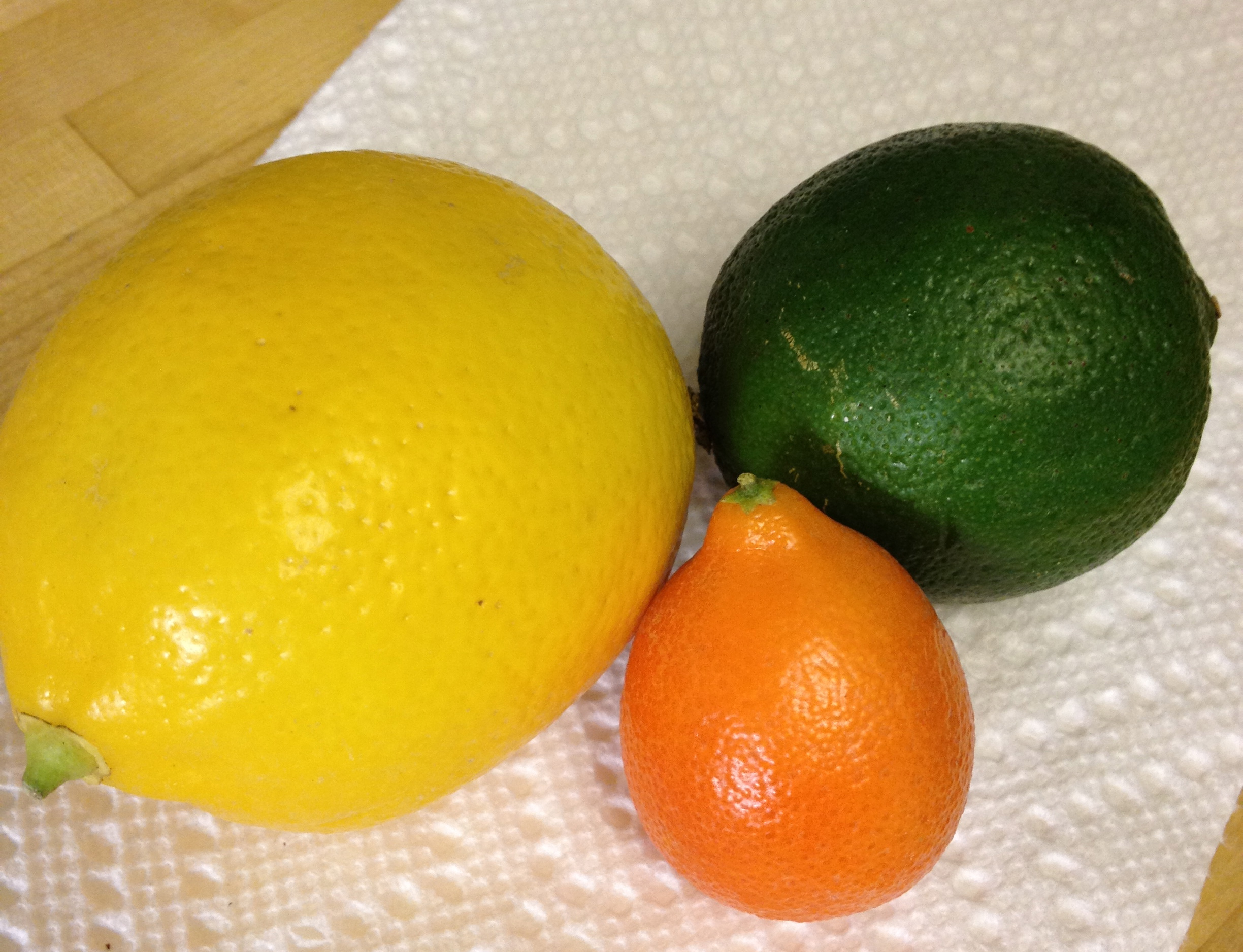 Mandarinquat! (next to a Meyer lemon and a lime)