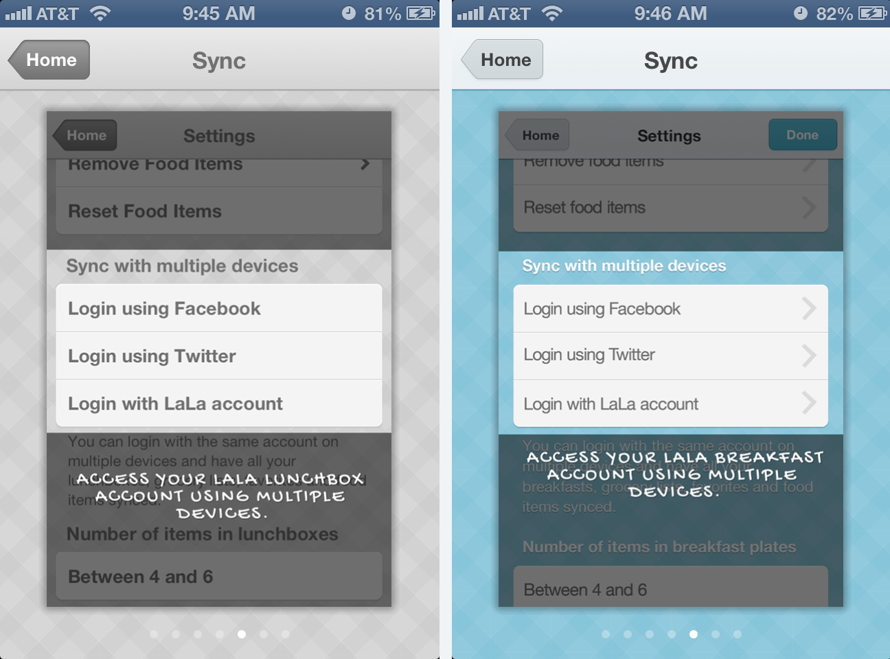Sync using multiple devices to access Lunchbox and Breakfast meals and grocery lists.