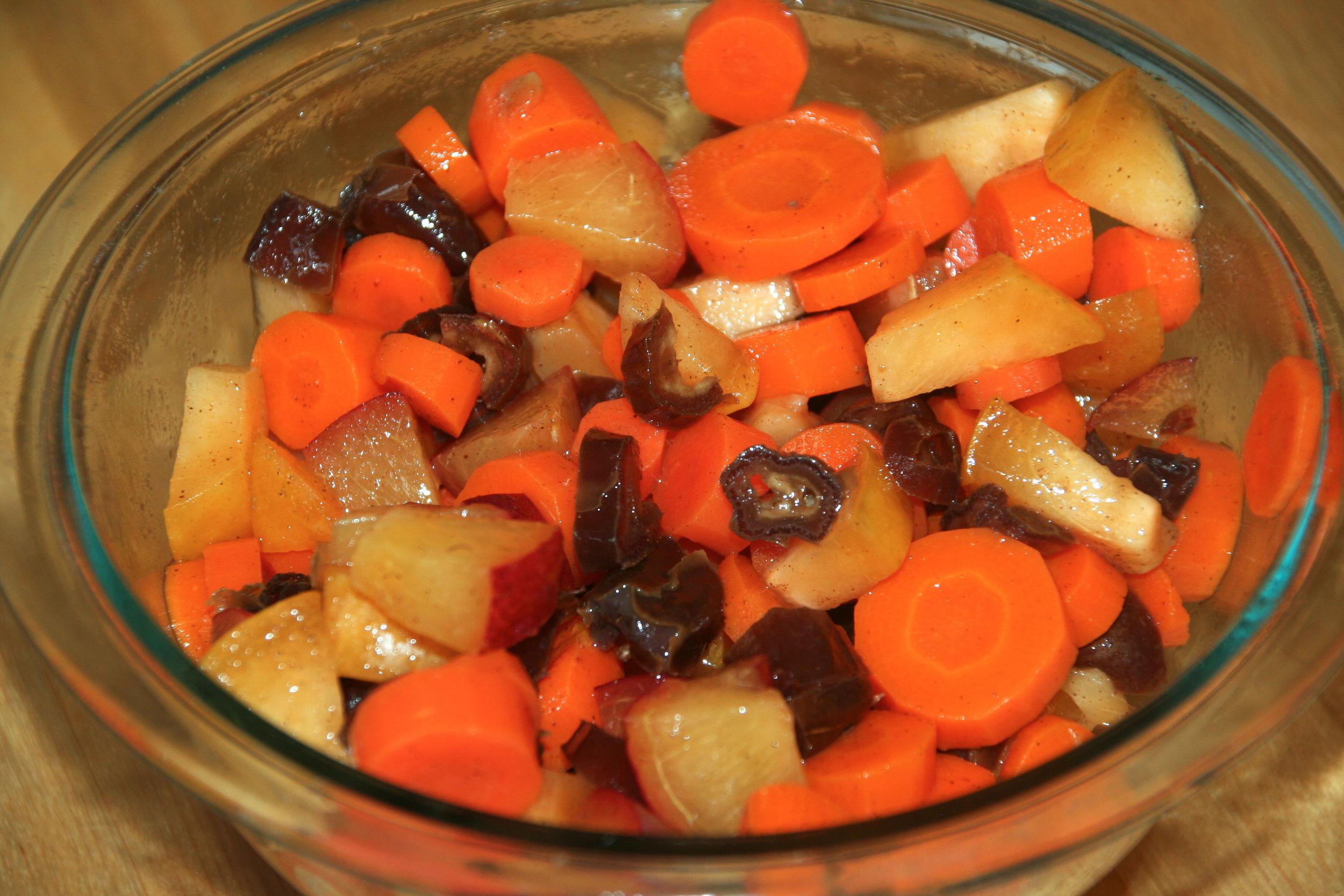 Carrots in a breakfast fruit salad!