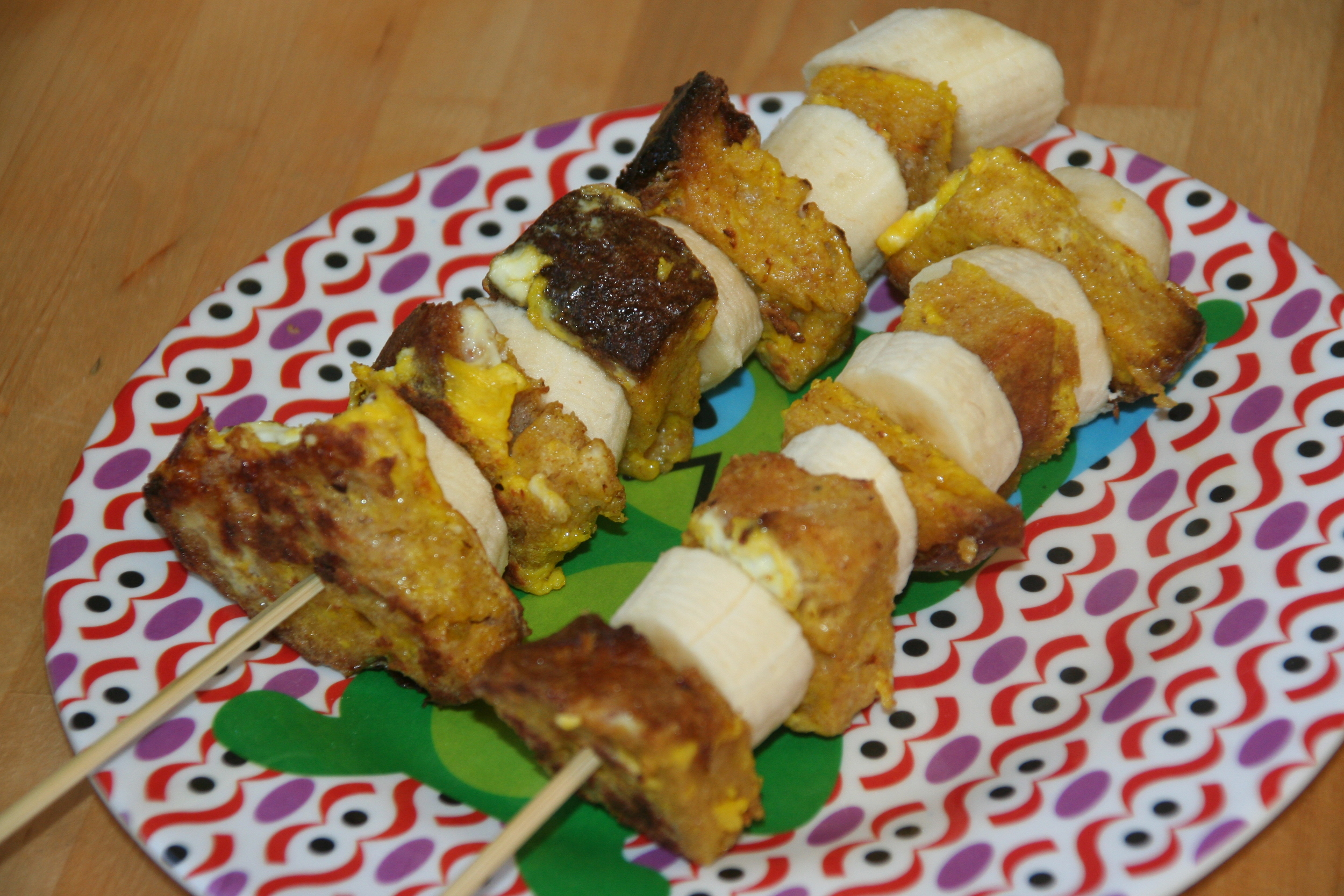 French toast banana kebabs