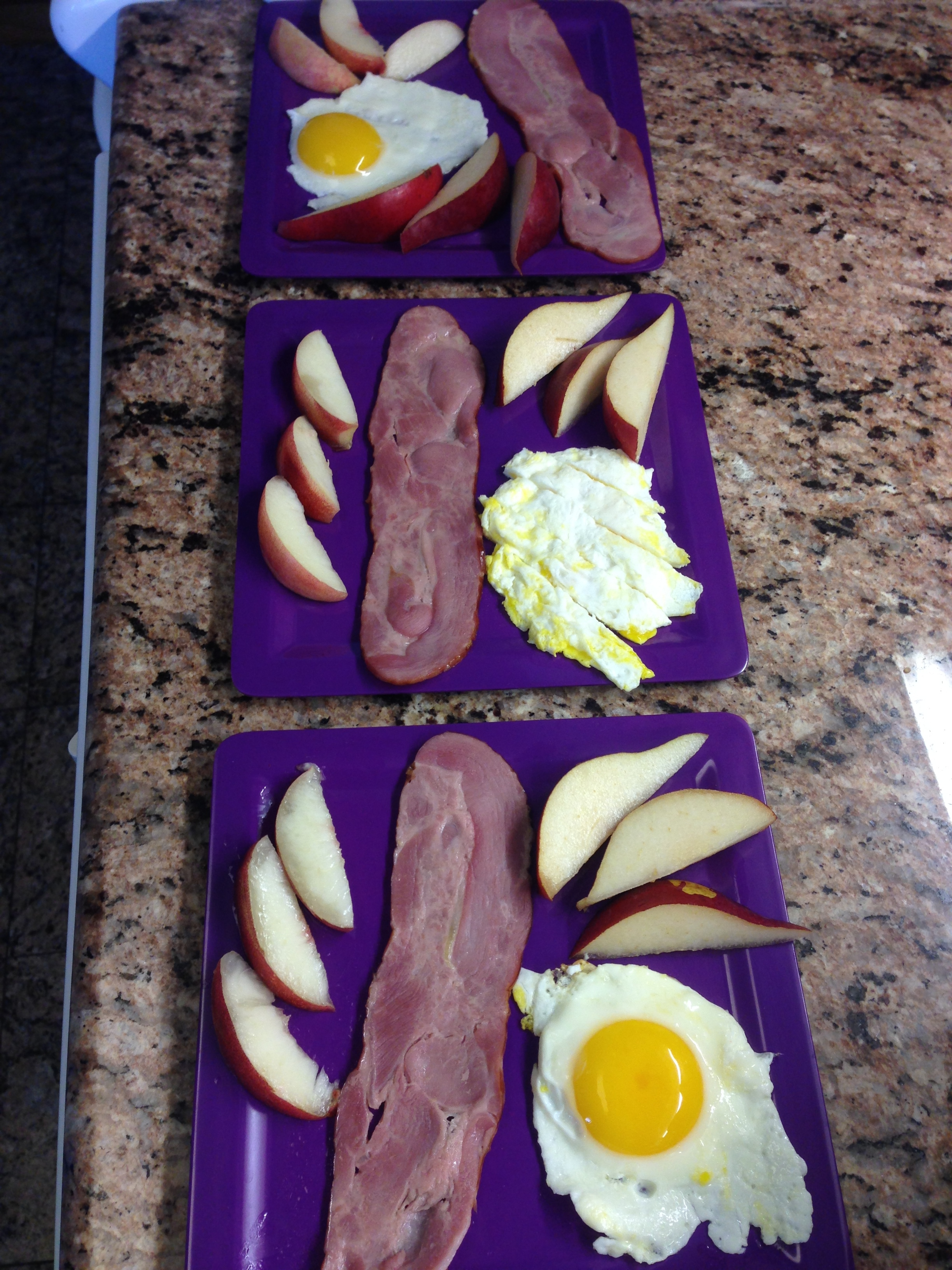 white nectarine, red pear, egg and Applegate organic turkey bacon