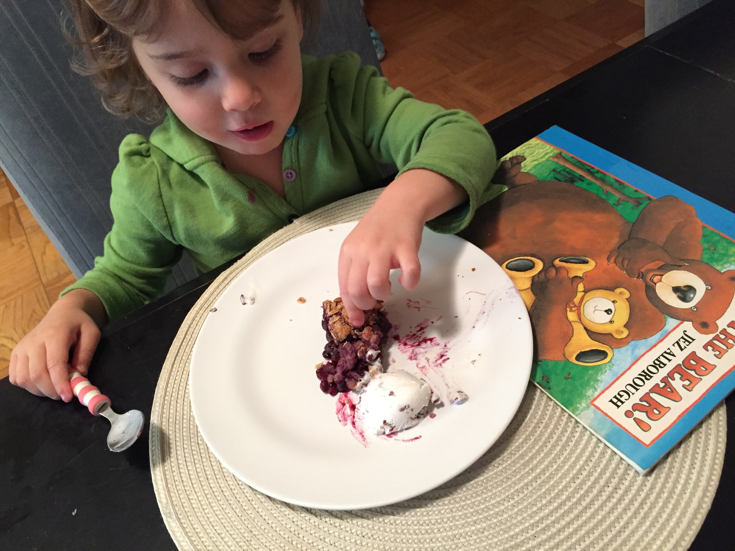"Blueberry Pomegranate Pie with non dairy ice cream and ""It's The Bear!"""