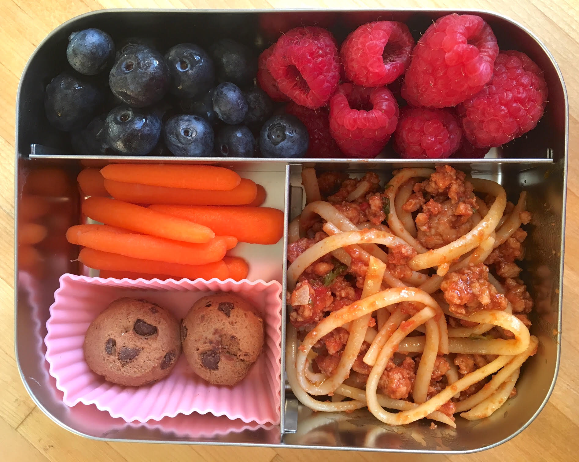 My kids love cold Bolognese with pasta in their lunchbox!