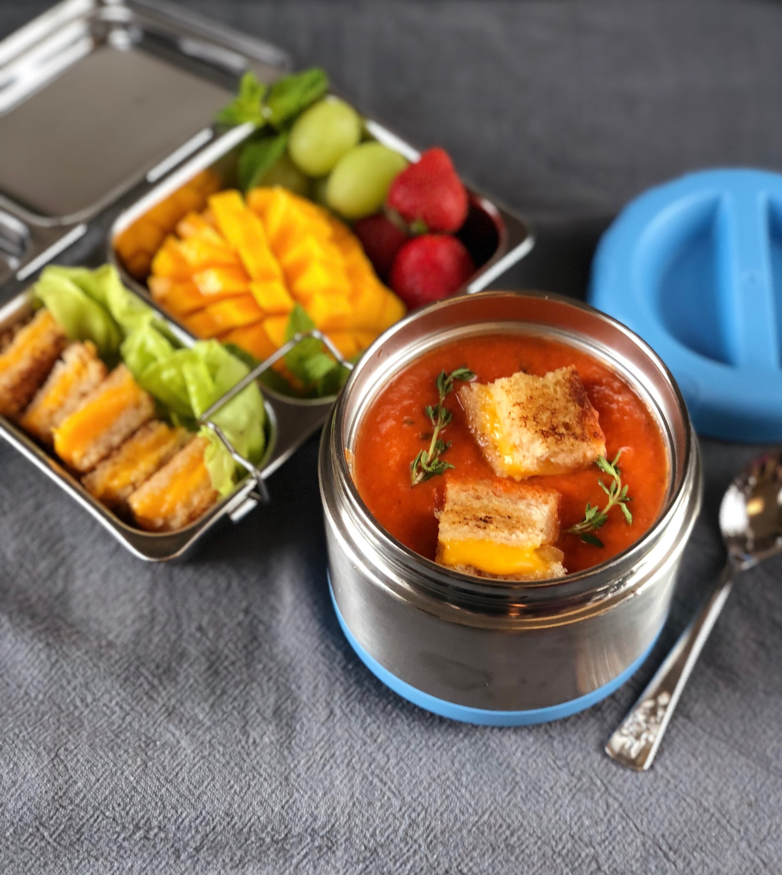 tomato soup with grilled cheese croutons lunchbox
