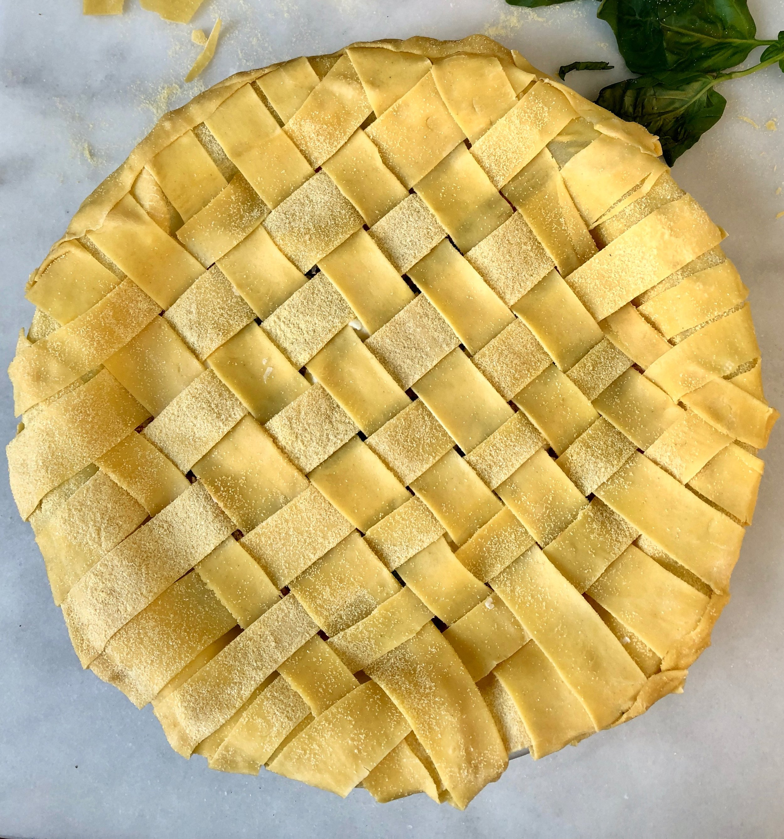 round lasagne lattice pie