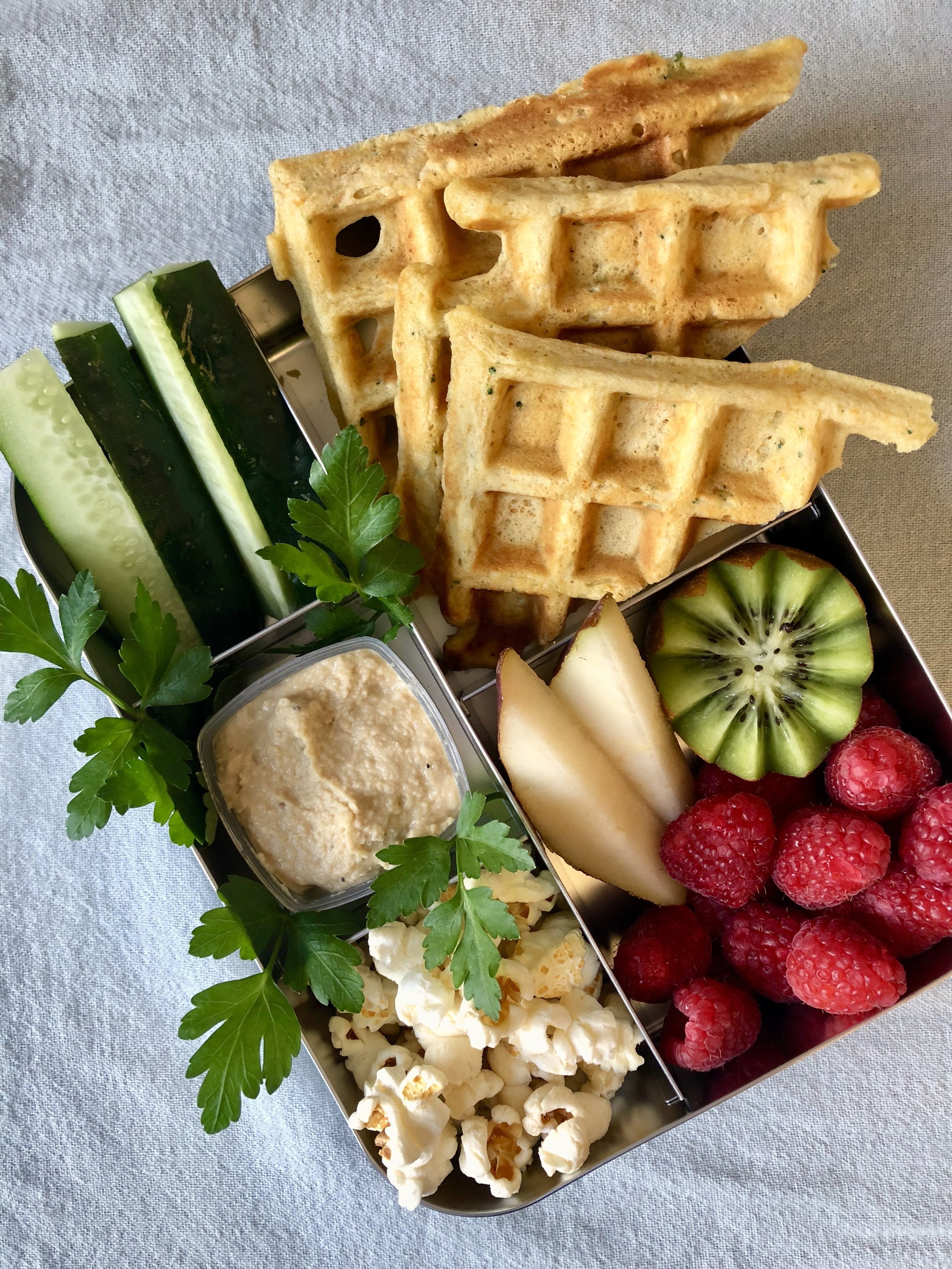 veggie waffles for a nut free lunchbox. Prep once eat twice, easy recipe.