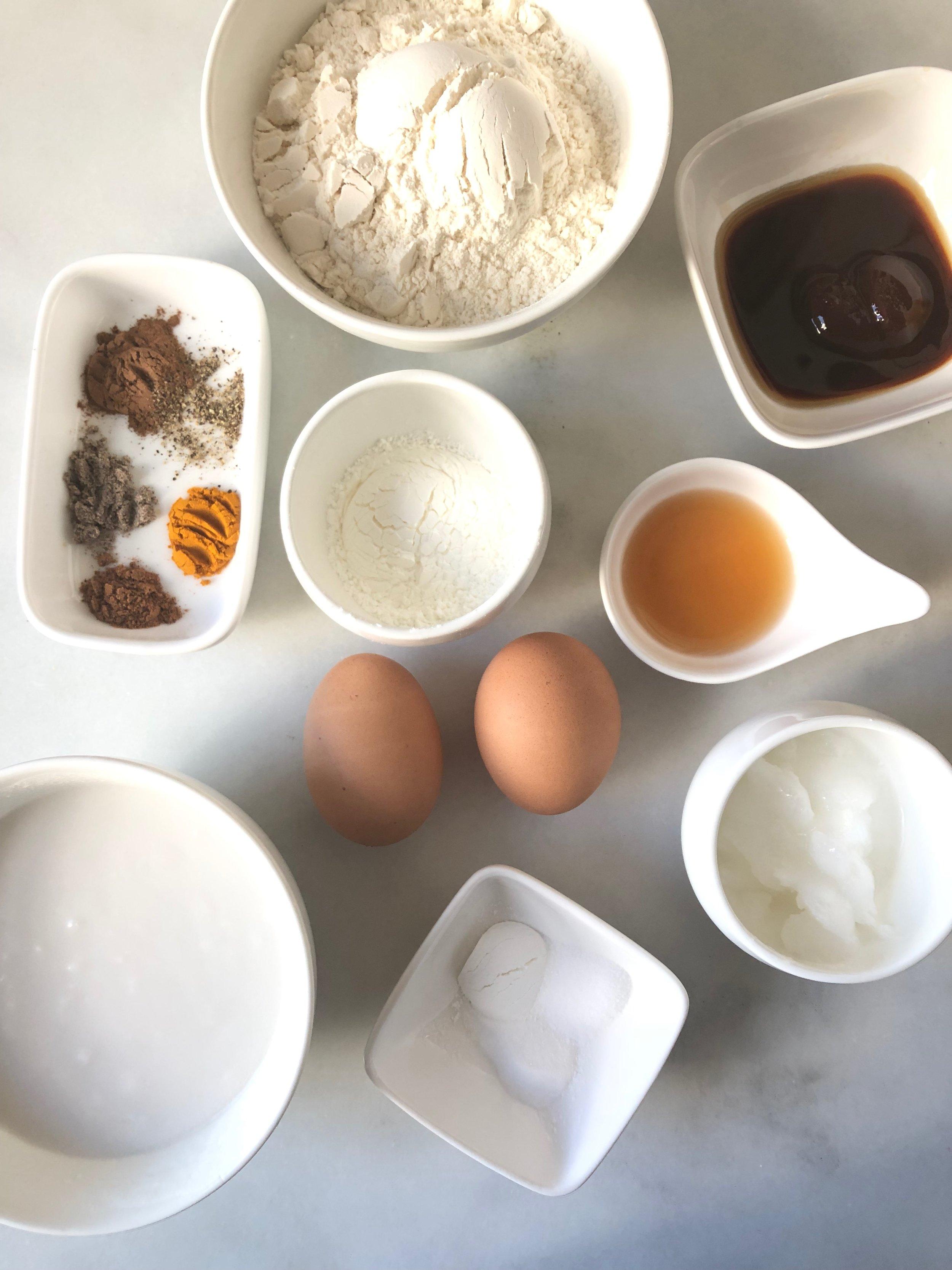 Ingredients for Golden Milk Waffles