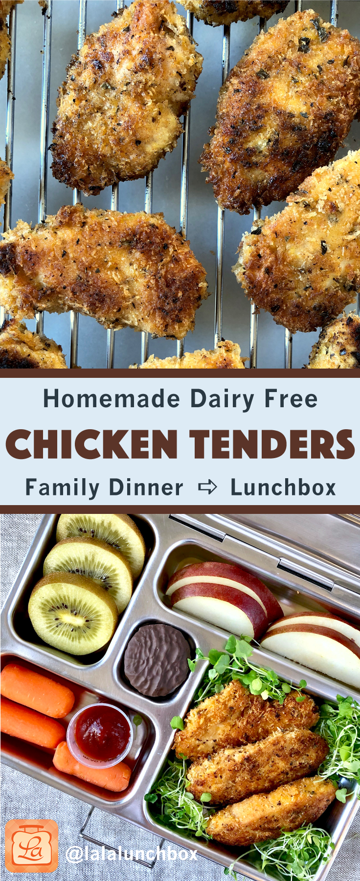 Pin it for later! Easy homemade dairy free chicken tenders.