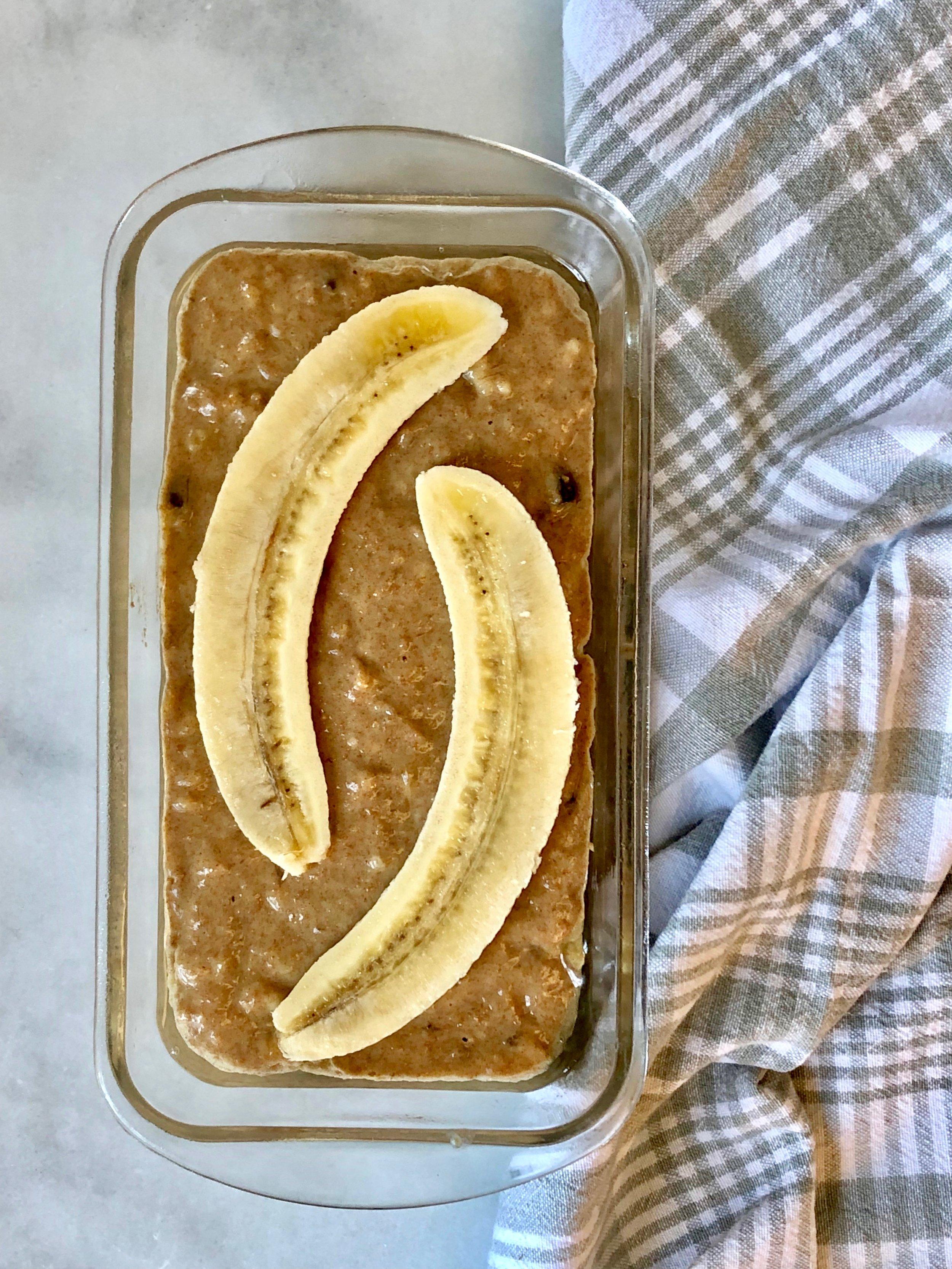 Banana Tahini Bread ready to bake