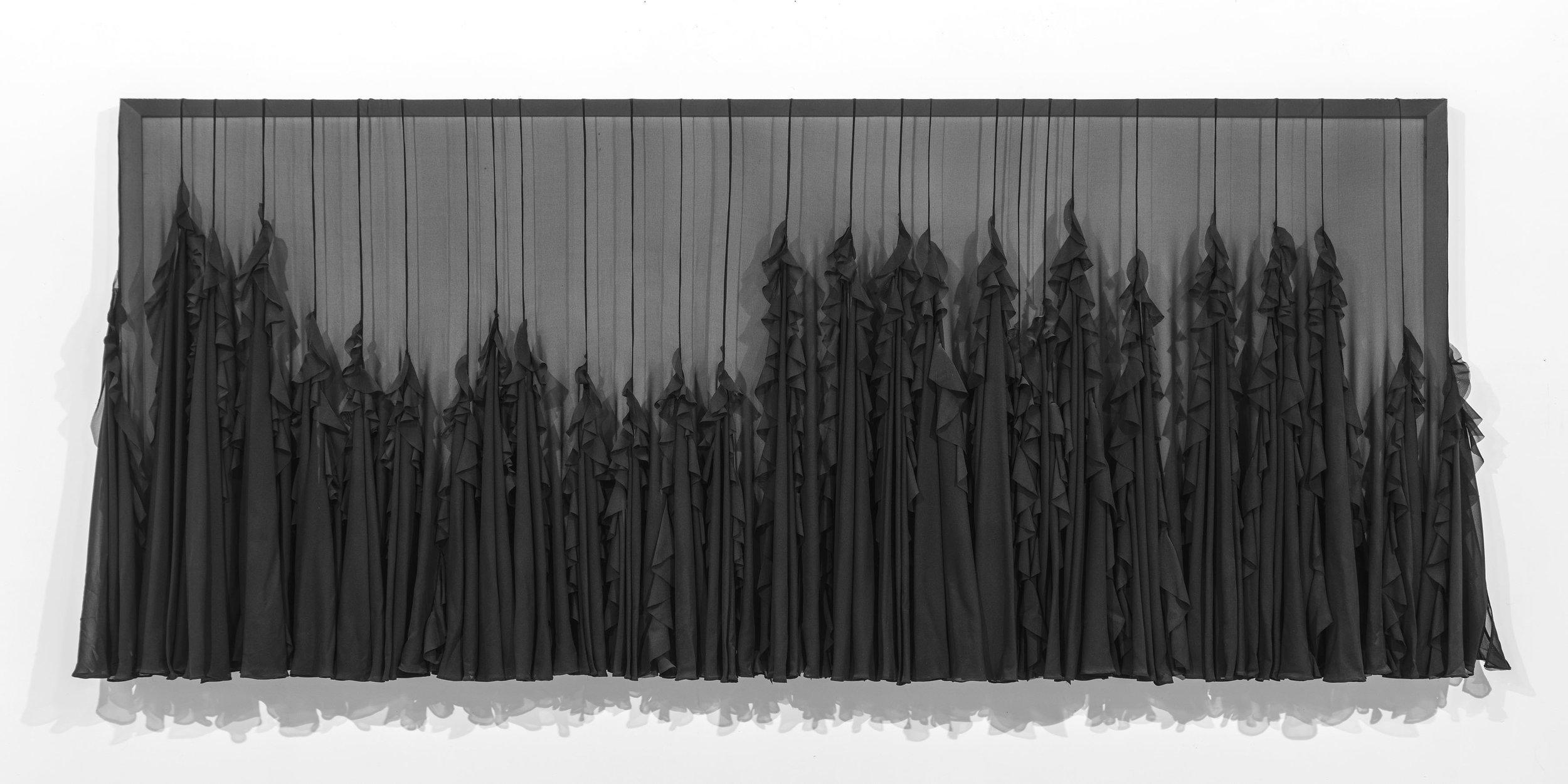 "Chutes de Khone, 32"" x 84"", Chiffon, Lead and Wood, 2012"