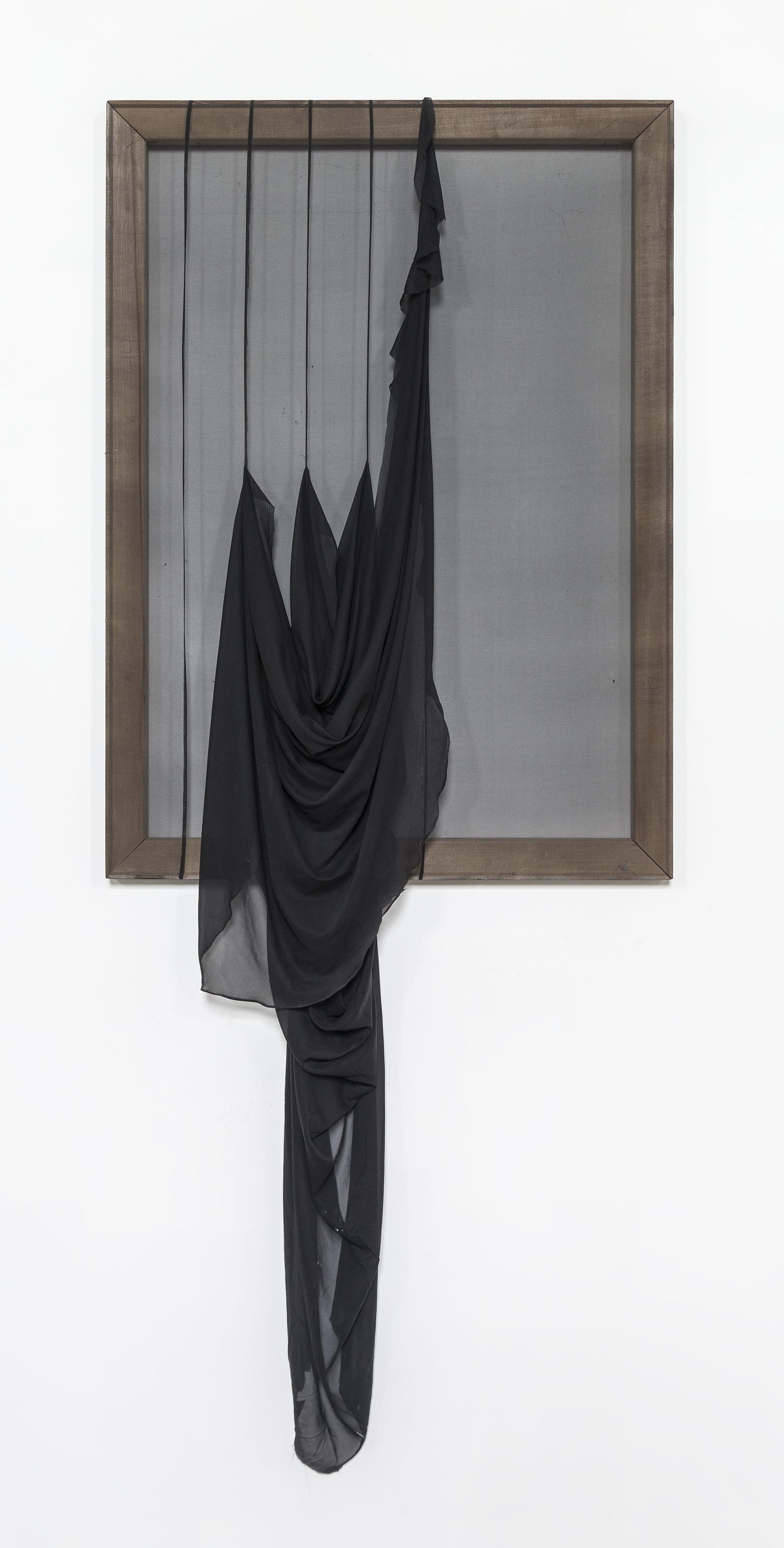 """Dip Falls, 44"""" x 32"""", Chiffon and Wood, 2013*"""