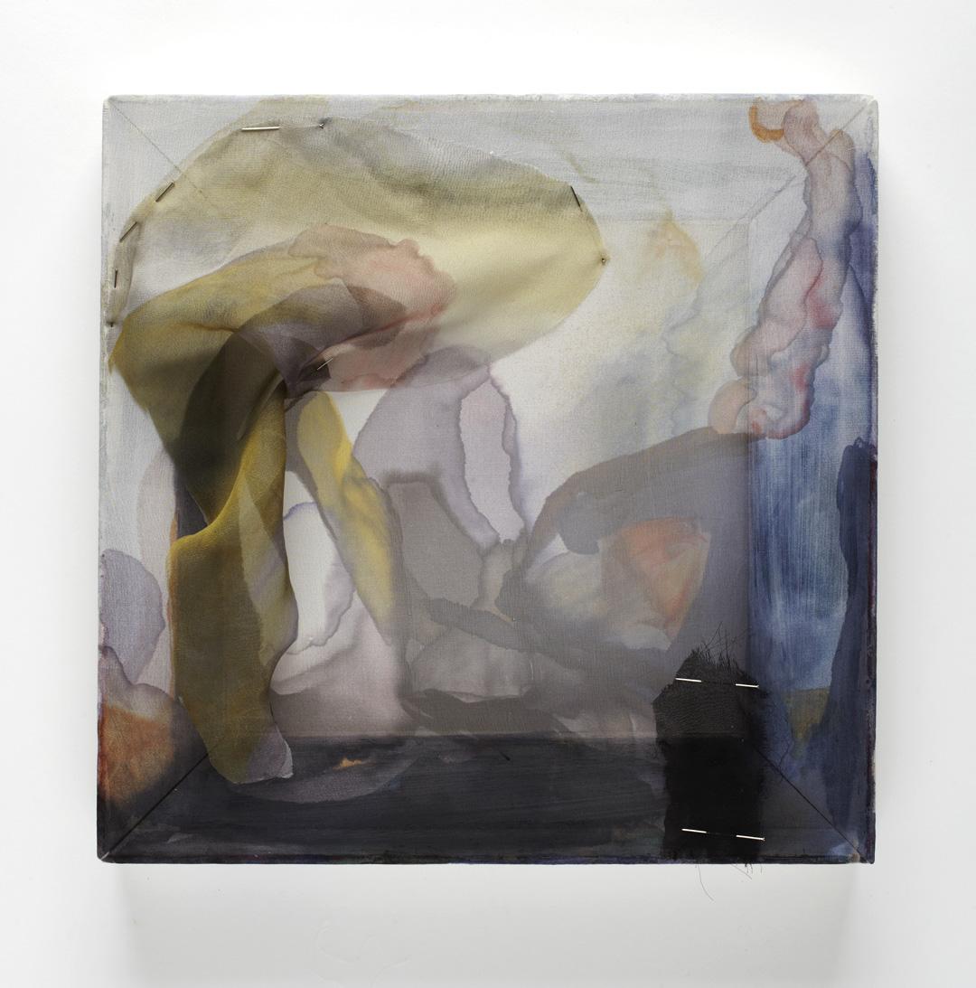 "Mad Vallis, silk chiffon, ink, pins and wood, 12"" x 12"", 2014."