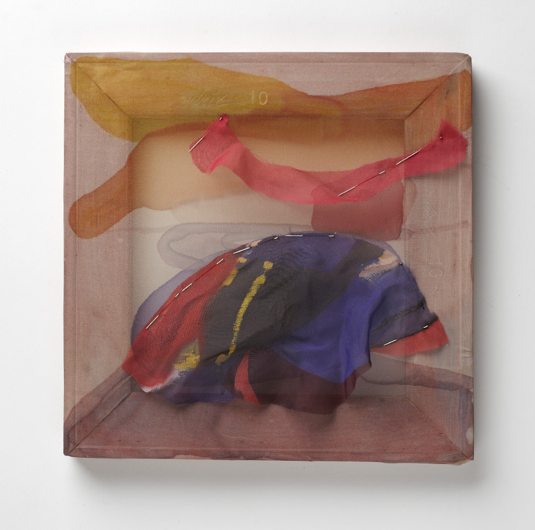 "Aeolis Mons, silk chiffon, ink, pins and wood. 10"" x 10"", 2014"