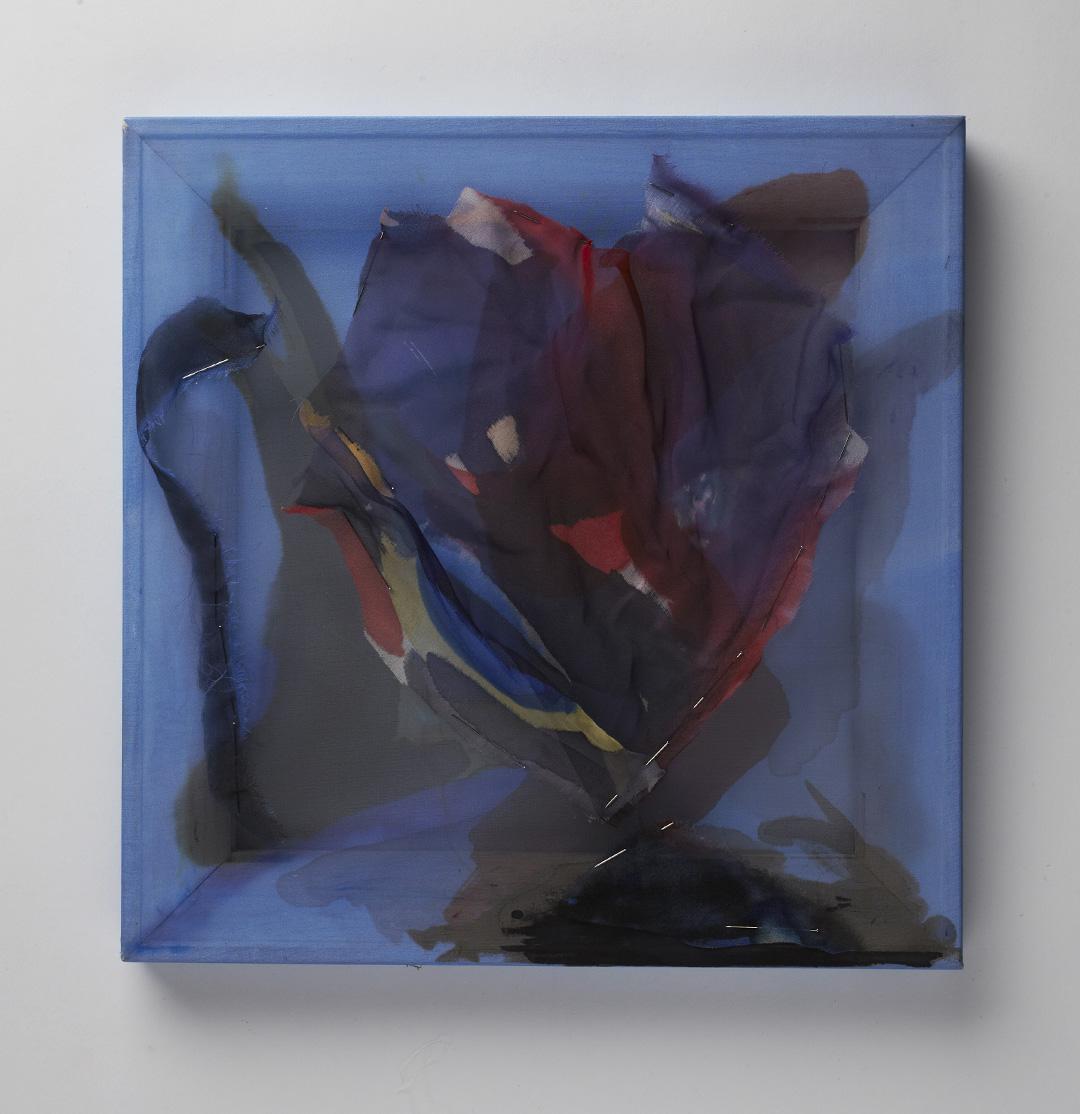 "Ophir Chasma, silk chiffon, ink, pins and wood. 12"" x 12"", 2014"