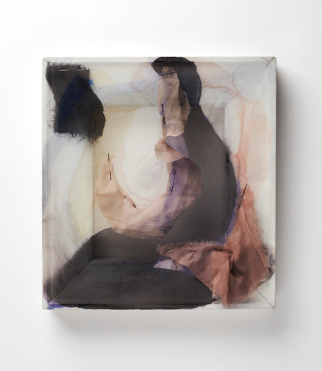 "Writing the Moon, chiffon, ink, pins and wood. 12"" x 11"", 2014"