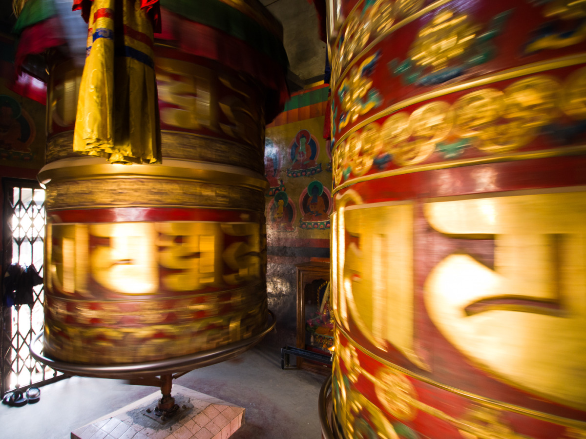 Nepalese prayer wheels