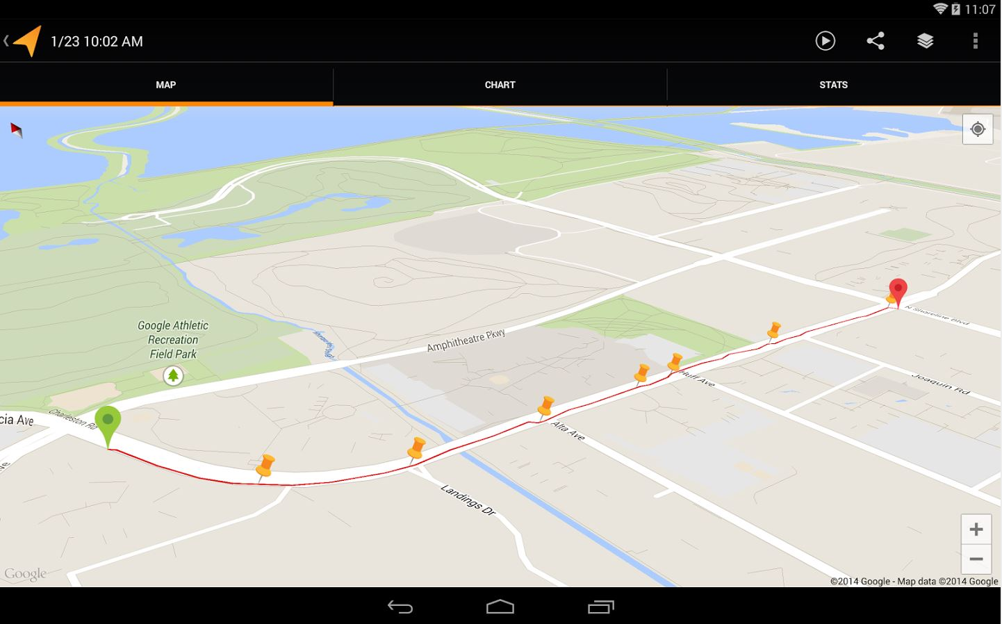 Google MyTracks app