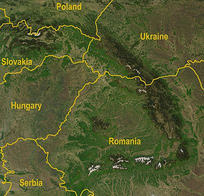 Satellite image of the Carpathians