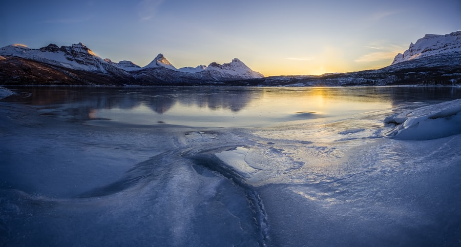 Sunrise over the frozen fjord