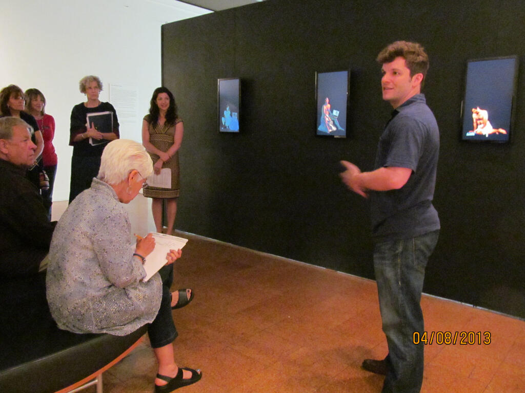 Speaking about the video portion of my thesis work to docents at the museum.