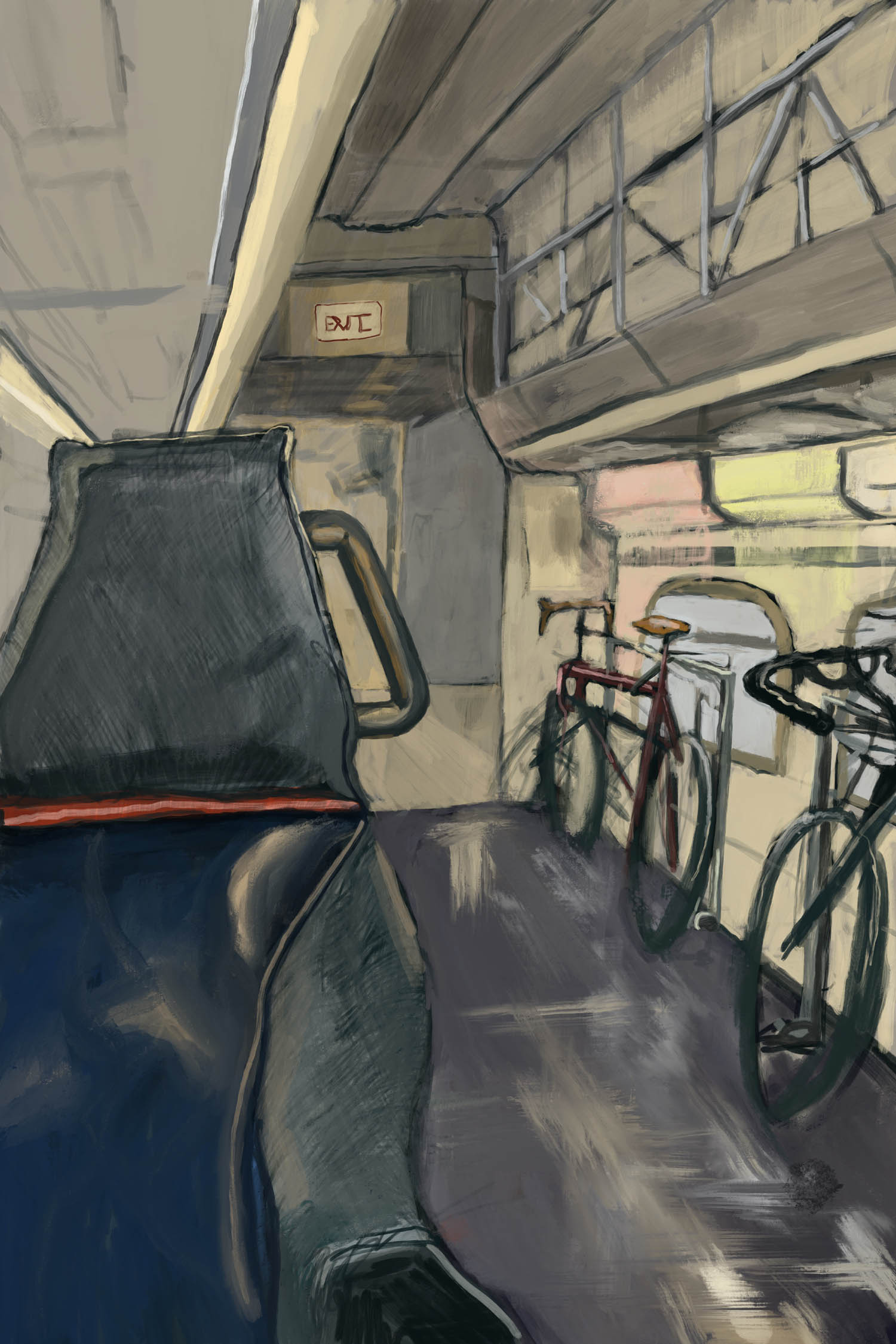 Inside Caltrain's Older Bike Car