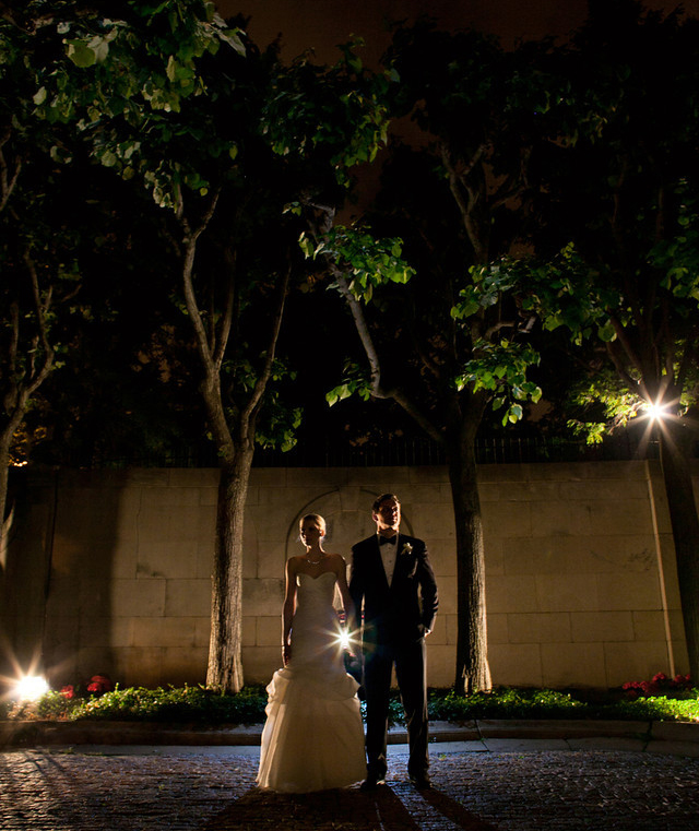 Night portrait of bride and groom at the Meridian House - Maria Vicencio Photography Weddings