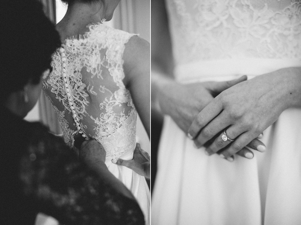 Black and white shots of bride getting ready - Maria Vicencio Photography Weddings