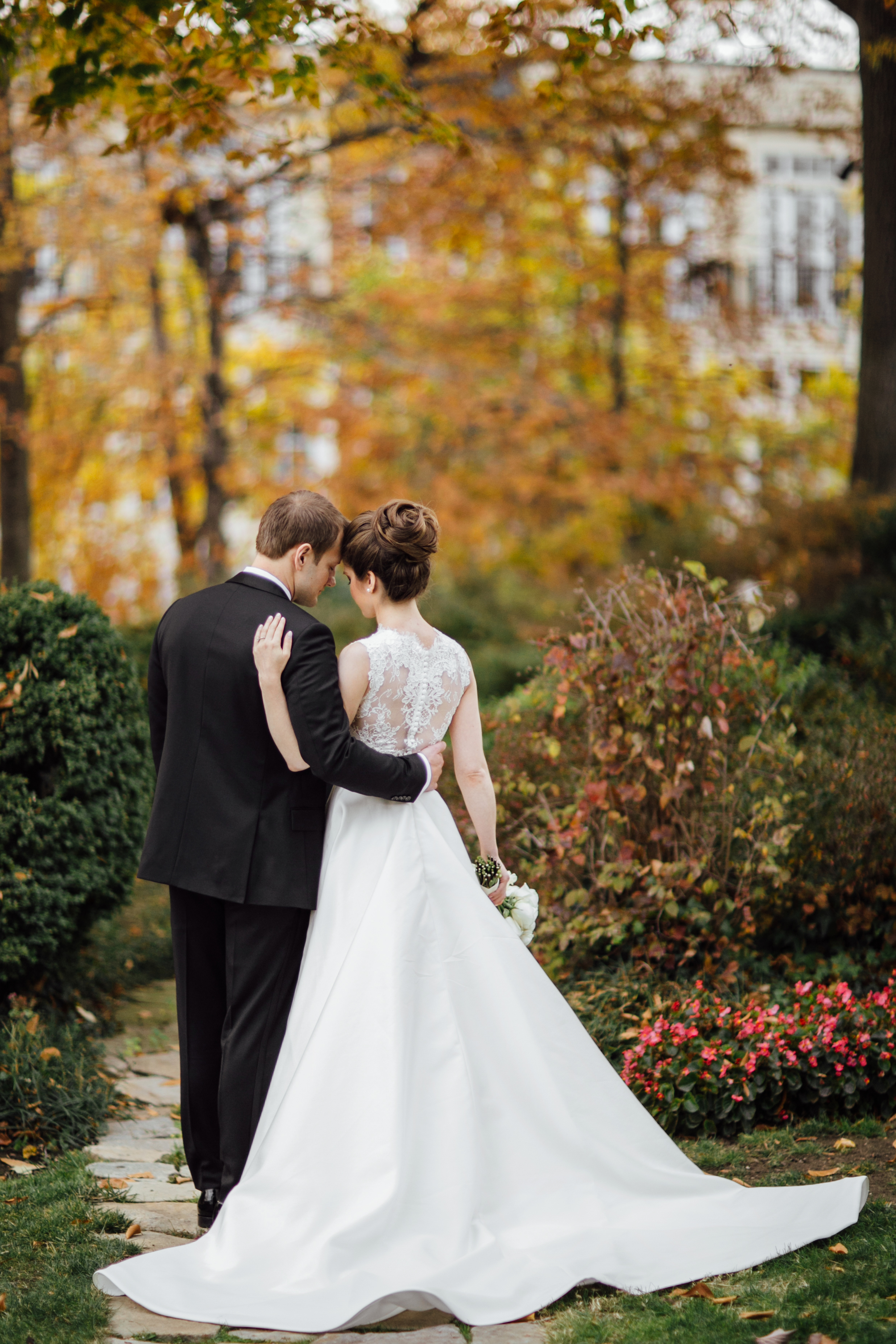 Bride and groom huggin at Meridian House in DC - Maria Vicencio Photography Weddings
