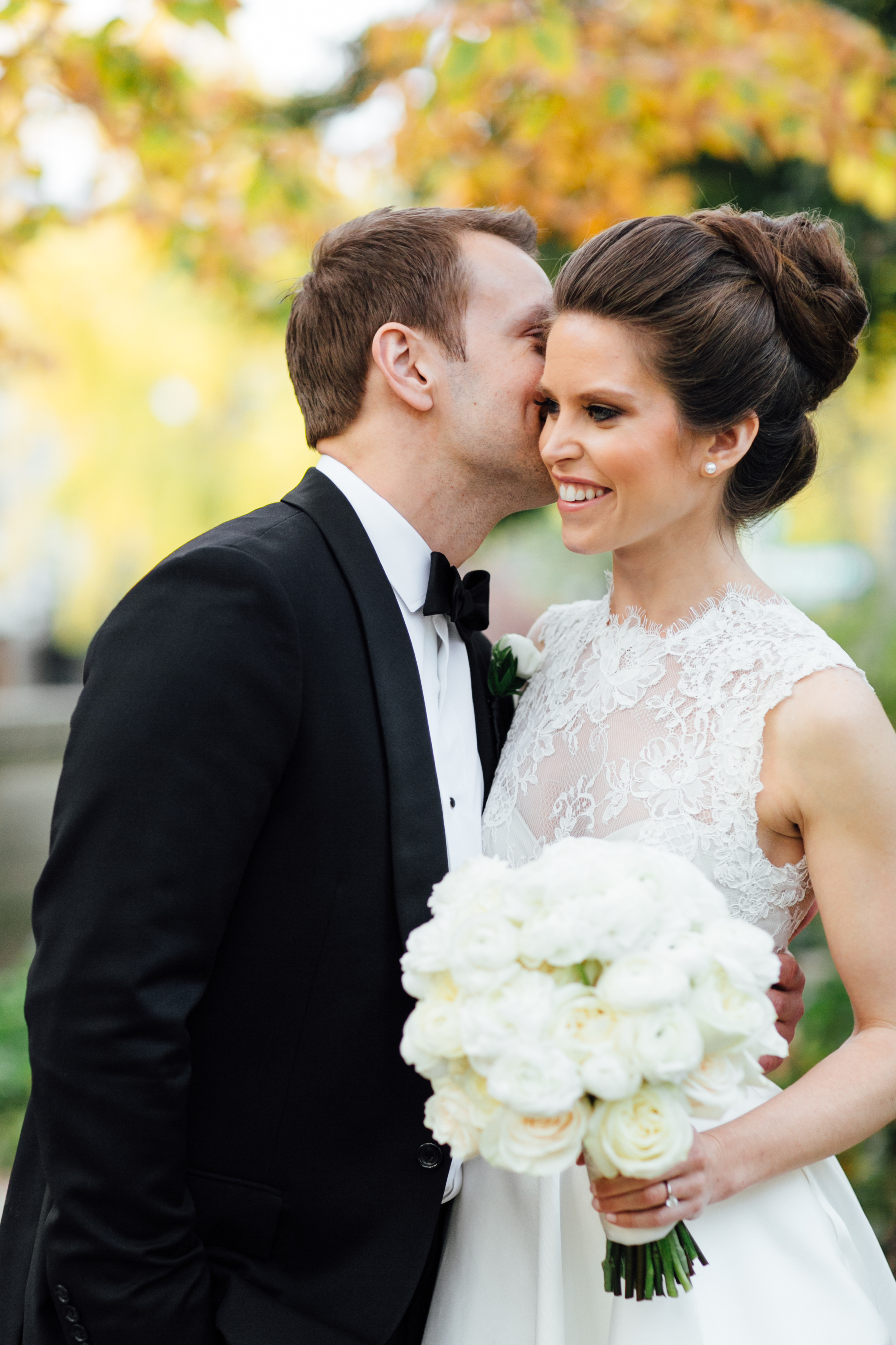 Groom kissing bride at Meridian House in DC - Maria Vicencio Photography Weddings