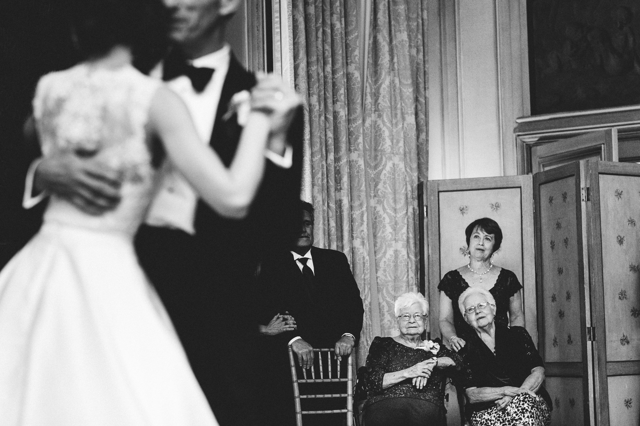 Grandmother looking on as bride dances with her father at Meridian House in DC - Maria Vicencio Photography Weddings