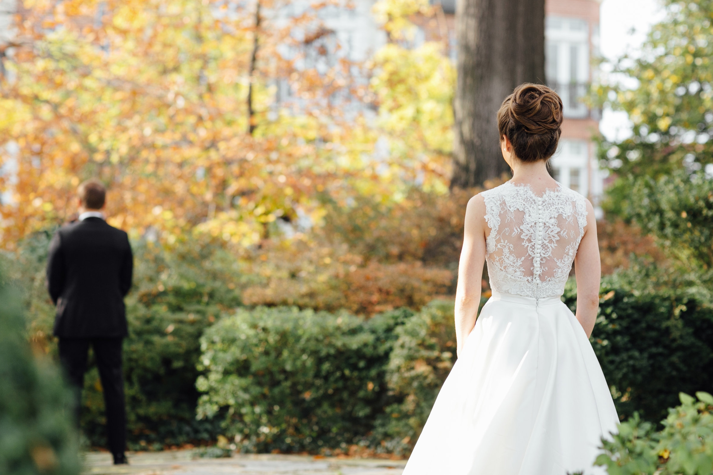 First Look with bride and groom at Meridian House in DC - Maria Vicencio Photography Weddings