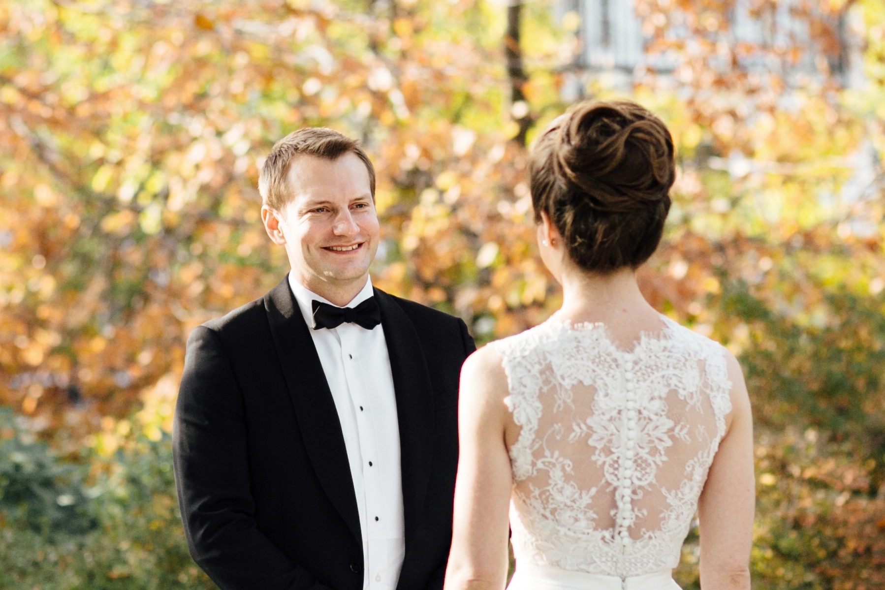 First Look of bride and groom at Meridian House in DC - Maria Vicencio Photography Weddings