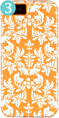 DandyCase 2-in-1 Hybrid High Impact Hard Orange Flower Pattern and Orange Silicone Case Case Cover for Apple iPhone 5 & 5S