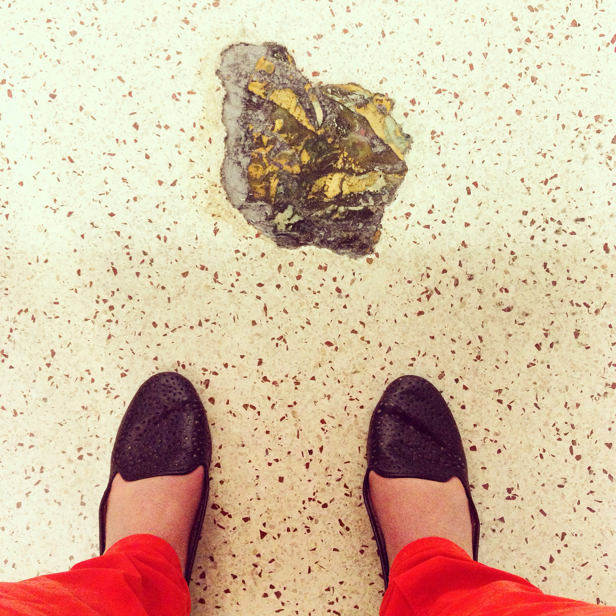 This is embedded floor art that looks like poop in a Denver International Airport bathroom.