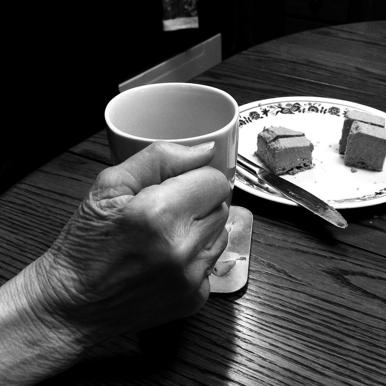 This is my paternal grandmother's hand with some tea a few years ago.