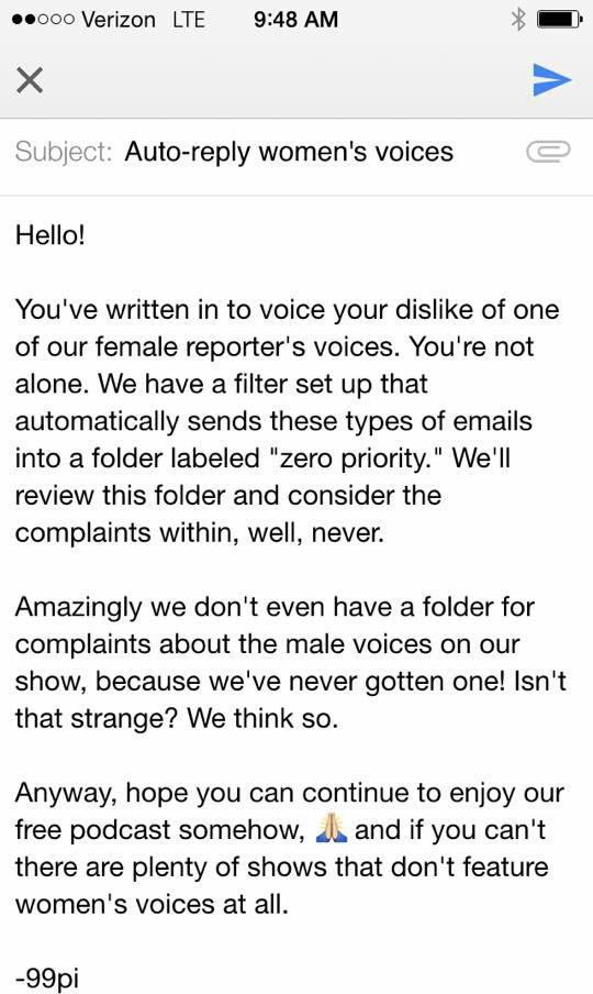 99% Invisible email auto reply about women's voices