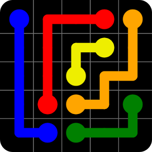 Flow Free by Big Duck Games LLC - App Store / Google PlayYou connect matching colours without crossing paths with other colours.