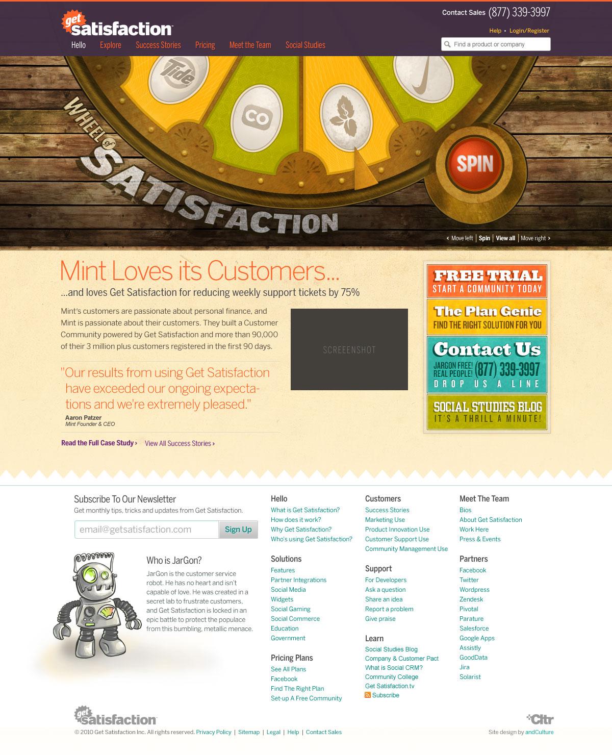 Get Satisfaction, Homepage (September 2010)