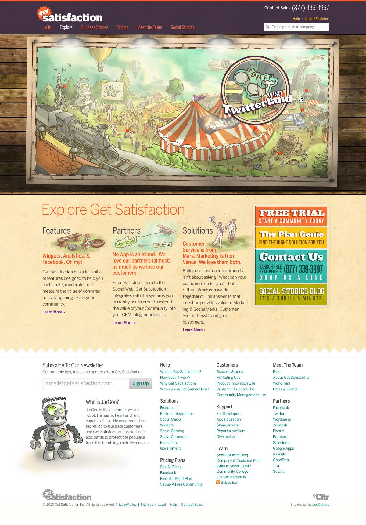 Get Satisfaction, Explore Get Satisfaction page, September 2010