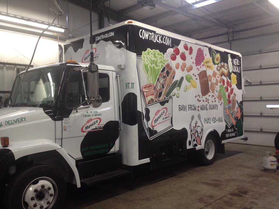 The vinyl, applied to the first truck. (Better photos are coming!)